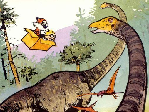 illustration montrant des dinosaures et des lapins qui volent dans une boîte