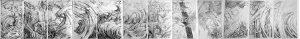 frise d'oeuvres abstraites en noir et blanc