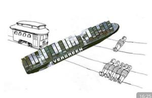 illustration en noir et blanc : un bus, un bateau et des perosnnes allongées